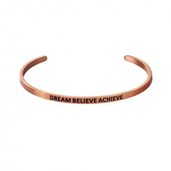 "Браслет MY MANTRA ""DREAM BELIEVE ACHIEVE"", розовая позолота (фото 1)"
